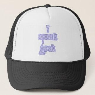 Blue Plaid I Speak Geek Trucker Hat