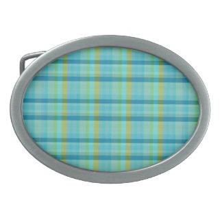 Blue Plaid Oval Belt Buckle