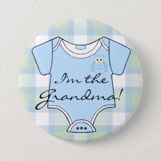 Blue Plaid Owl Baby Shower Grandma Button