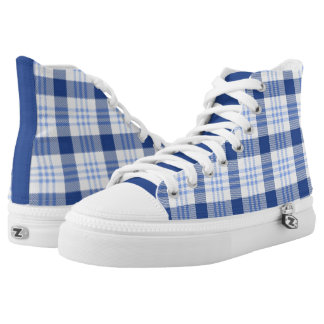 Blue Plaid Pattern High-Top Sneakers