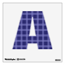 Blue Plaid Pattern  Letter A Wall Decal