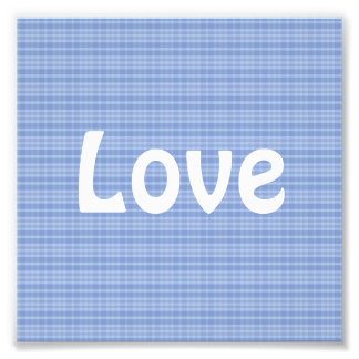 Blue Plaid Pattern Love Art Photo
