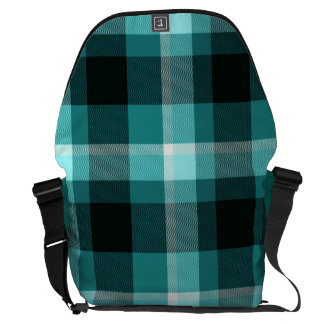 Blue Plaid Pattern Messenger Bag
