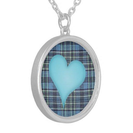 Blue Plaid Pattern Necklaces