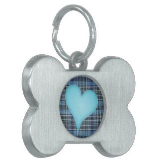 Blue Plaid Pattern Pet Tags