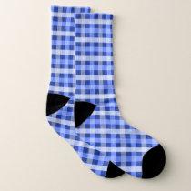 Blue Plaid Patterned Socks