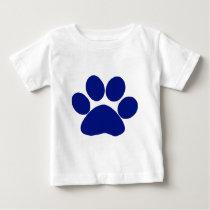 Blue Plaid Paw Print Baby T-Shirt