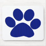 Blue Plaid Paw Print Mouse Pad