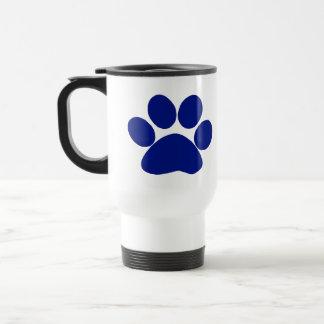 Blue Plaid Paw Print Travel Mug