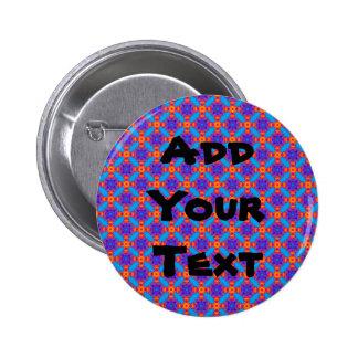 Blue Plaid Pinback Button