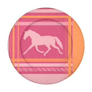 Blue Plaid Pony Pattern Button Covers