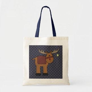 Blue Plaid Reindeer & Star Gift Bag