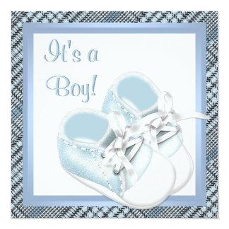 Blue Plaid Shoes Black Blue Plaid Baby Boy Shower 5.25x5.25 Square Paper Invitation Card