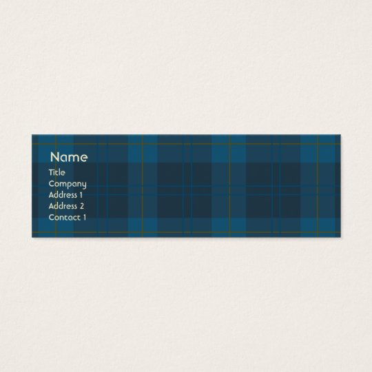 Blue Plaid - Skinny Mini Business Card