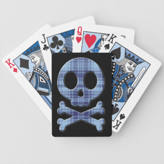 Blue Plaid Skull Bicycle Playing Cards