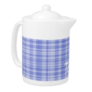 Blue Plaid Teapot