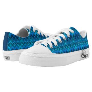 Blue Plaid Weave Low-Top Sneakers
