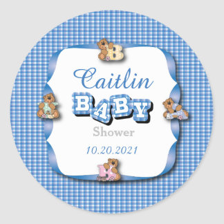 Blue Plaid with Baby Bears   Baby Boy Shower Classic Round Sticker