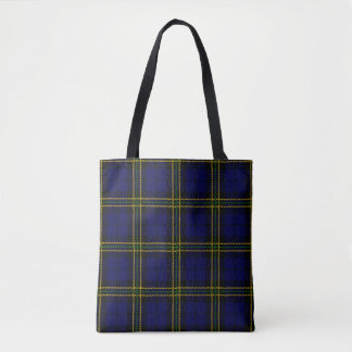 Blue plaid with black and yellow green stripe tote bag
