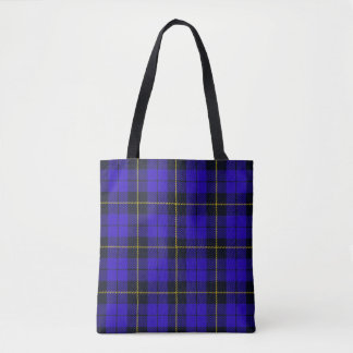 Blue plaid with black and yellow stripe tote bag