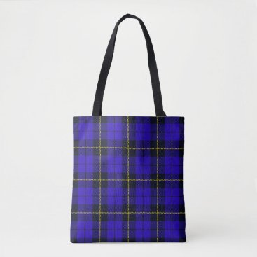Ruanna Blue plaid with black and yellow stripe tote bag
