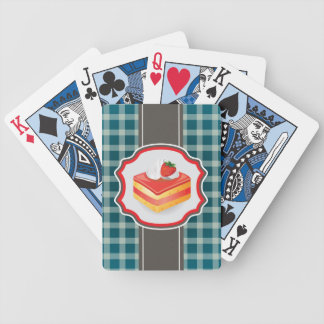 Blue Plaid with cupcake Bicycle Playing Cards
