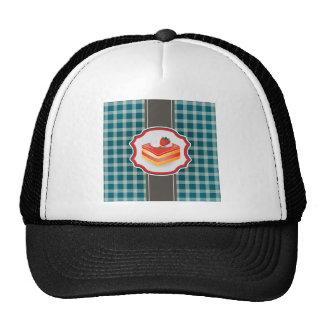 Blue Plaid with cupcake Mesh Hat