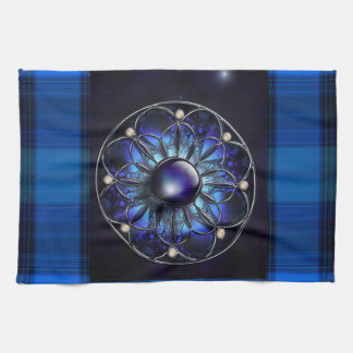 Blue Plaid with Fractal Design Kitchen Towels