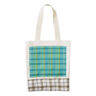 Blue Plaid Zazzle HEART Tote Bag