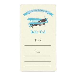 Blue Plane Bookplate Label