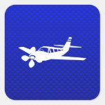 Blue Plane Square Stickers