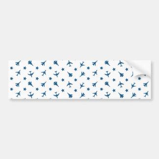 Blue Planes Pattern Bumper Sticker