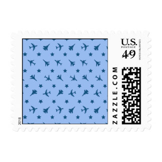 Blue Planes Pattern Stamps