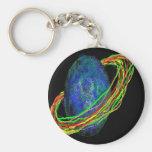 Blue Planet Basic Round Button Keychain