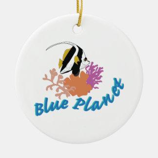 Blue Planet Round Ceramic Ornament