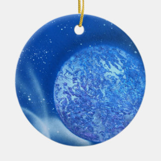 blue planet sky spacepainting Double-Sided ceramic round christmas ornament