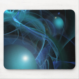 Blue Planets Fractal Flame Mouse Pad