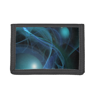 Blue Planets Fractal Flame Trifold Wallets