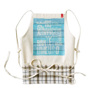 Blue Planks Zazzle HEART Apron