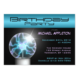 Blue Plasma Ball Birthday Party Invitations