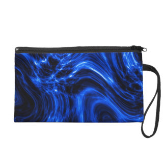 Blue Plasma Energy Abstract Art Wristlet Purse