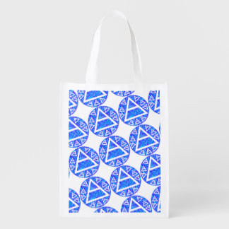 Blue Plato's Air Sign New Age Triad Pattern Bag Market Totes