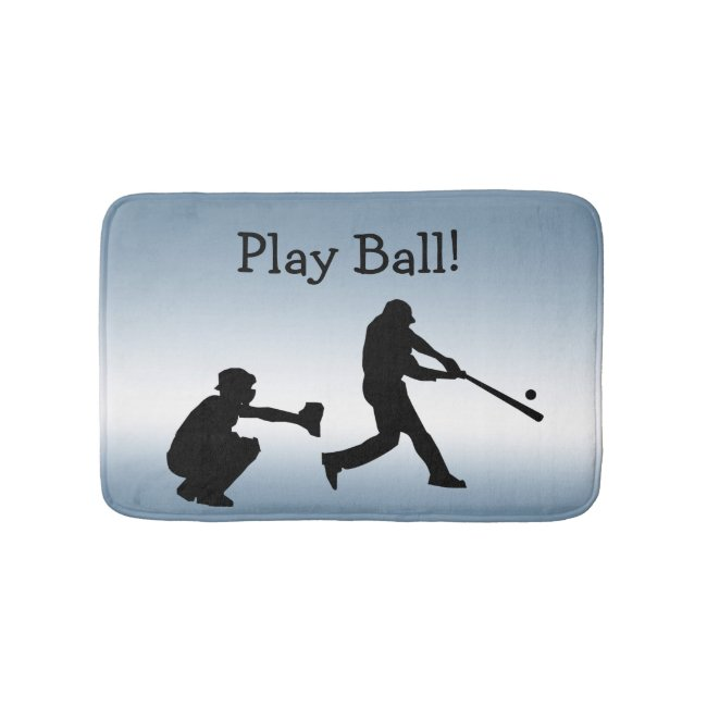 Blue Play Ball Baseball Sports Bath Mat