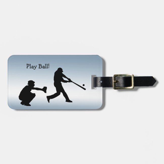 Blue Play Ball Baseball Sports Luggage Tag