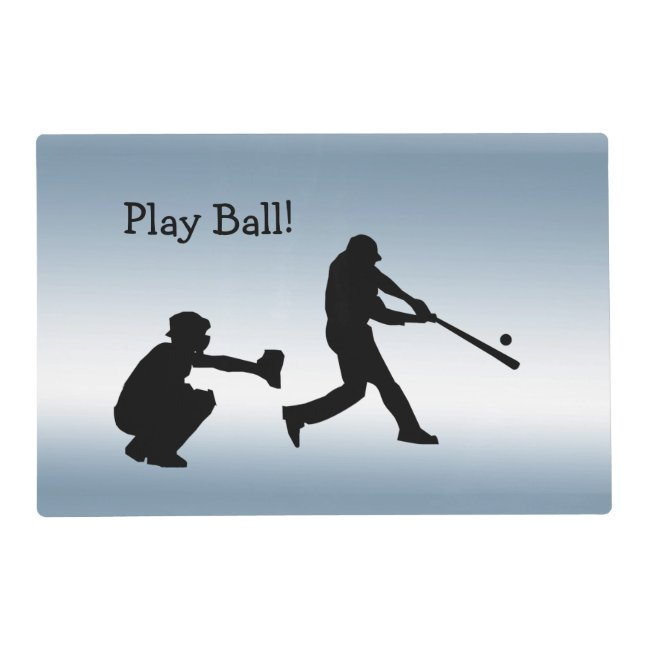 Blue Play Ball Baseball Sports Placemat