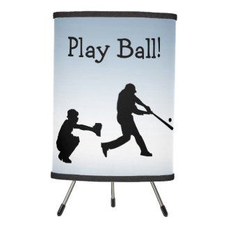 Blue Play Ball Baseball  Sports Table Lamp