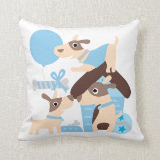Blue Playful Puppies Pillow