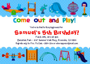Playground birthday invitations announcements zazzle blue playground birthday party invitations filmwisefo Gallery