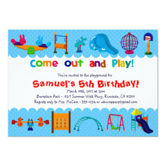 BLUE - PLAYGROUND  - Birthday Party Invitations