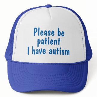 Blue please be patient I have autism hat. Trucker Hat